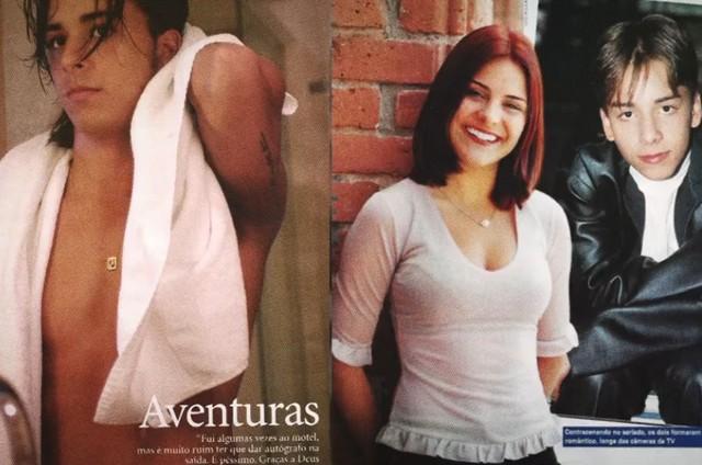 Imagens de Junior Lima e Bruna Thedy em revistas da época reproduzidas no documentário 'Sandy e Junior: A História' (Foto: Reprodução/Globoplay)