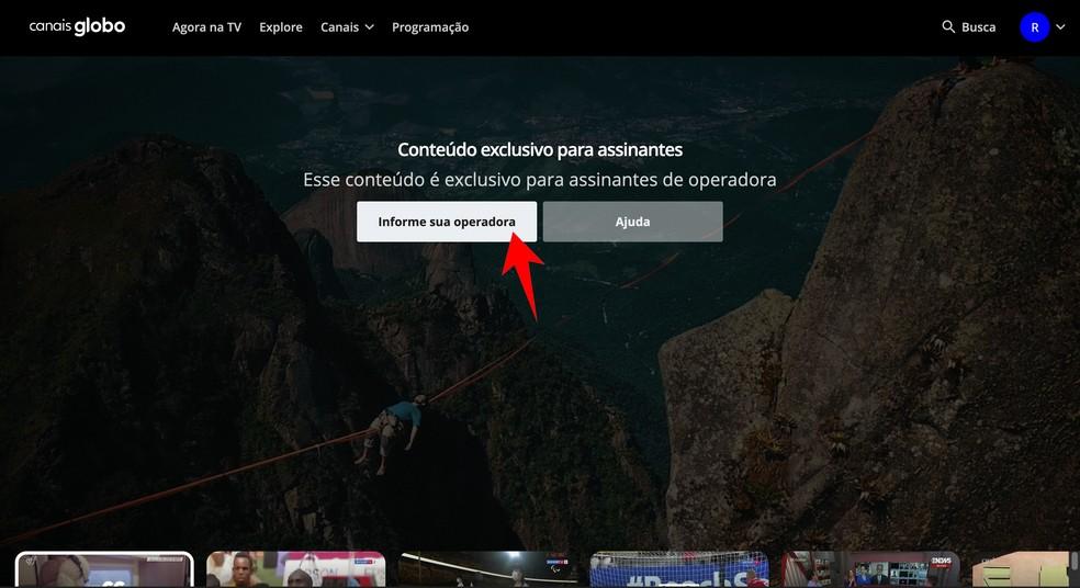 É preciso informar credenciais de TV por assinatura para acessar o Canais Globo — Foto: Reprodução/Rodrigo Fernandes