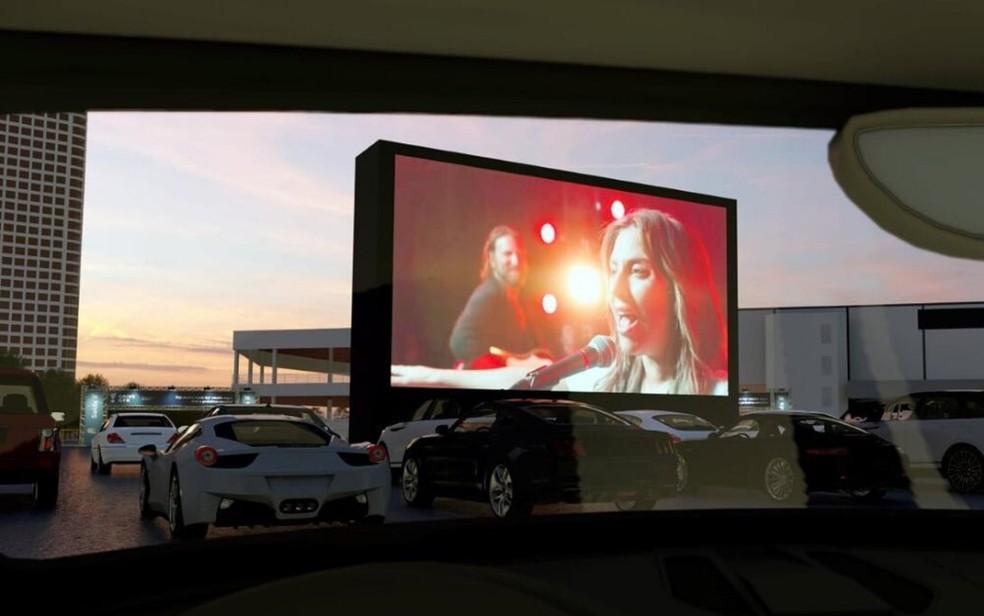 Cine drive-in com tela de 14 metros de altura começa nesta quinta-feira, em Goiânia — Foto: Drive Gyn/Divulgação