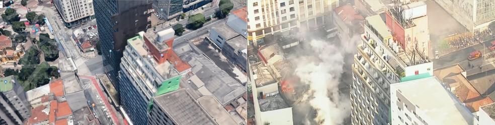 Imagem mostra antes e depois do prédio que desabou após incêndio no Centro de SP (Foto: Reprodução/TV Globo )