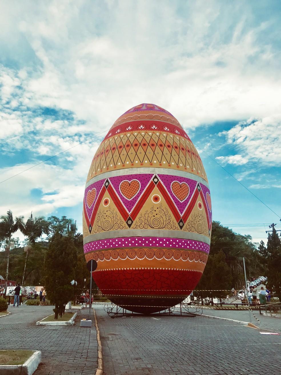 Ovo gigante de Páscoa de Pomerode bateu recorde.  — Foto: Divulgação
