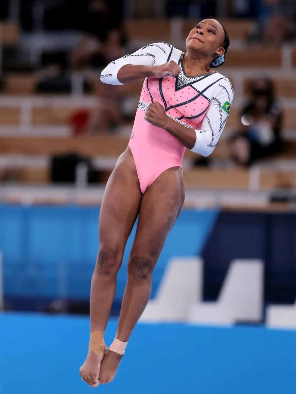 Rebeca Andrade nas Olimpíadas — Foto: Ricardo Bufolin/ Panamerica Press/ CBG