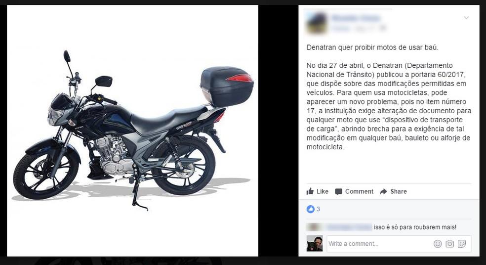 Pessoas passaram a compartilhar portaria como se ela proibisse qualquer moto de portar baú (Foto: Reprodução/Facebook)