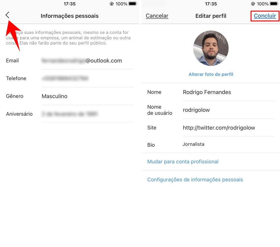 Confirmando a alteração do e-mail do Instagram — Foto: Reprodução/Rodrigo Fernandes