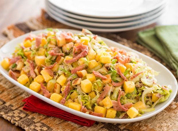 Receita de Salada de Polenta com Presunto Parma e Ricota, da  marca Yoki (Foto: Divulgação )