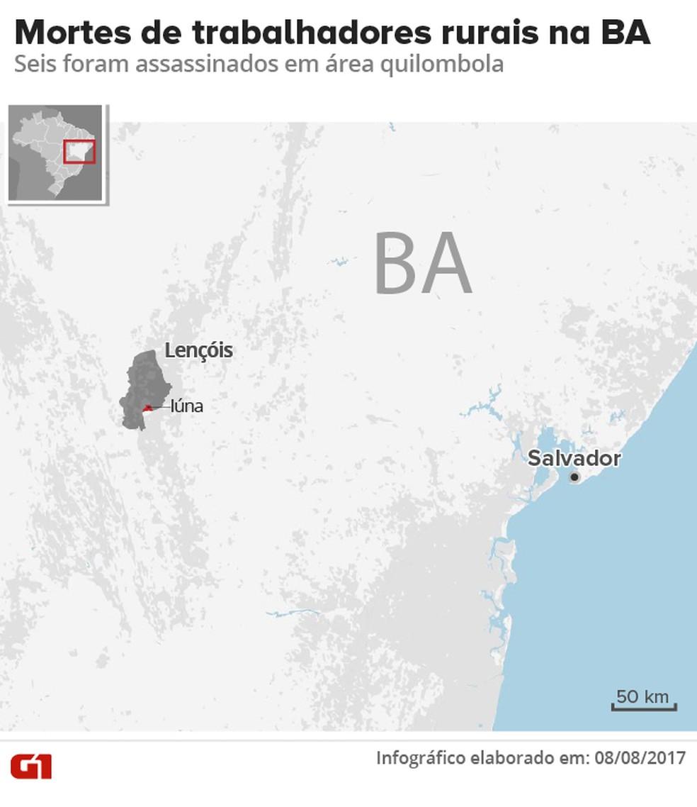 Território Quilombola de Iúna fica em Lençóis, na Chapada Diamantina, Bahia (Foto: Arte/ G1)
