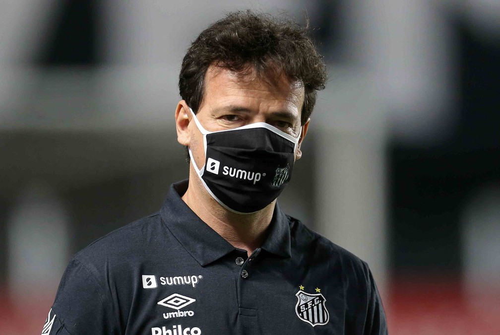 Fernando Diniz, técnico do Santos, no jogo contra o Boca Juniors — Foto: Divulgação/Twitter Libertadores