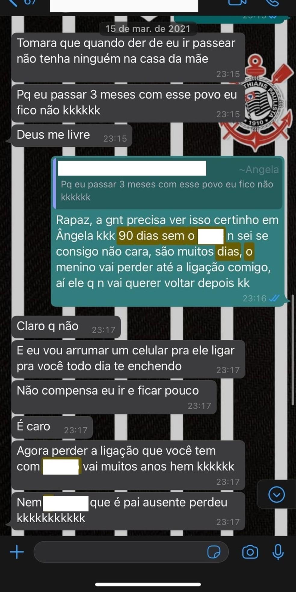 Conversa do Whatsapp entre Álefe e Ângela — Foto: Álefe Freitas/Arquivo Pessoal