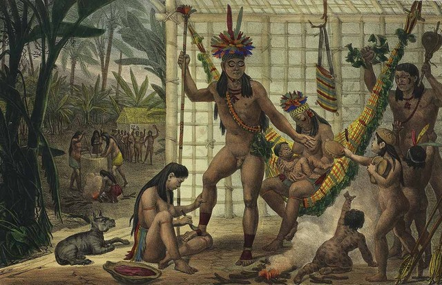 Pintura de Charles Étienne Pierre Motte retratando a vestimenta dos índios no Brasil (Foto: Divulgação)