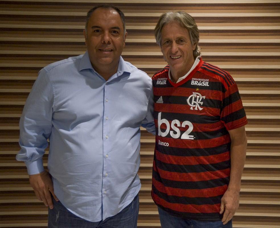 Marcos Braz teve papel determinante na chegada de Jorge Jesus ao Flamengo — Foto: Marcelo Cortes/Flamengo