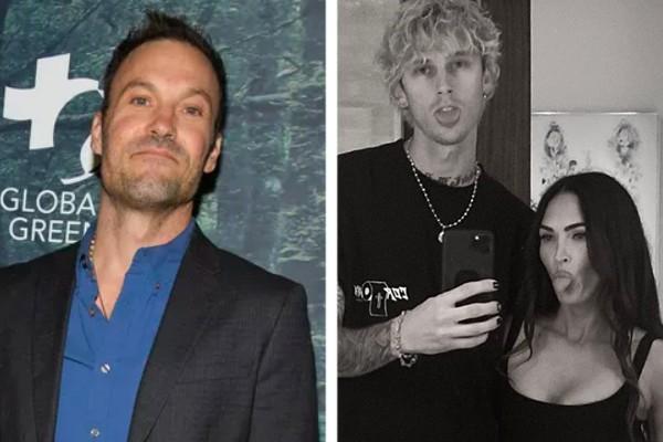 O ator Brian Austin Green (à esq.); o cantor Machine Gun Kelly com a atriz Megan Fox (à dir.) (Foto: Reprodução / Instagram)