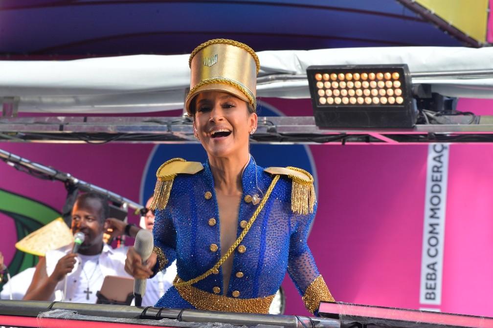Claudia Leitte no carnaval de Salvador nesta segunda-feira (24) — Foto: Joilson César/Ag Haack