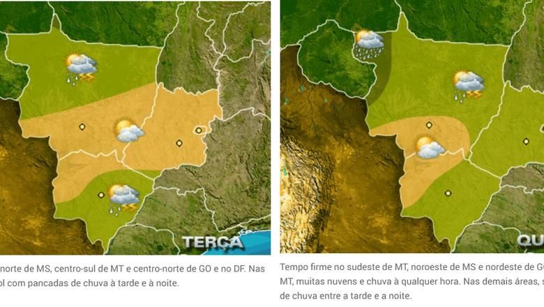 centro-oeste-previsão-18 e 19 dezembro (Foto: Reprodução/Climatempo)