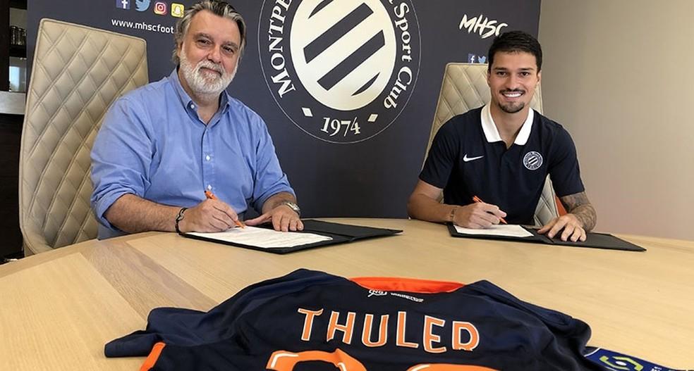 Thuler assina contrato com o Montpellier — Foto: Reprodução