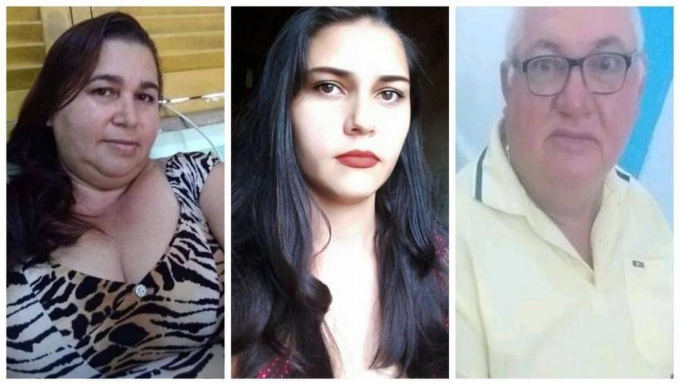 Maria de Fátima, Graciele da Silva Araújo e Antônio Araújo foram mortos em casa; marido da jovem é suspeito — Foto: Reprodução