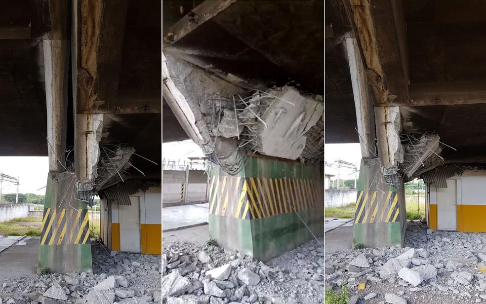 Veja como ficou a parte debaixo da estrutura do viaduto que cedeu na Marginal Pinheiros — Foto: Arquivo pessoal