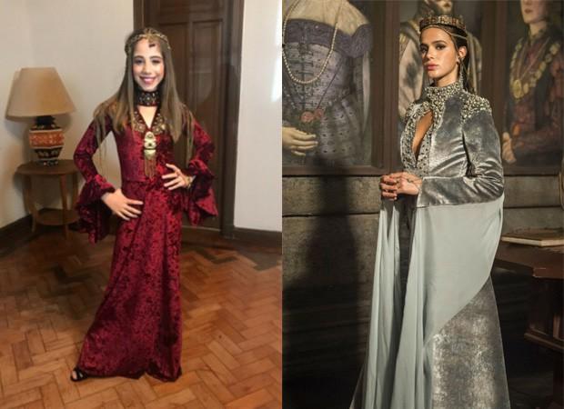 Leandra Caetano se inspirou em Bruna Marquezine em Deus Salve o Rei para aniversário (Foto: Divulgação: VeW Fotografia/ Palmer Assessoria de Comunicação e Maurício Fidalgo/TV Globo)