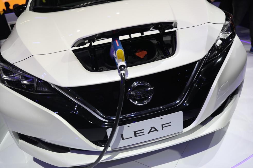 Nissan Leaf foi um dos elétricos do Salão do Automóvel 2018 — Foto: Fabio Tito/G1