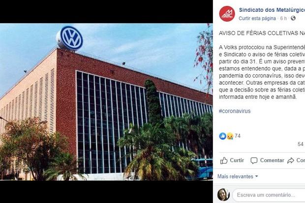 Aviso Sindicatos dos Metalúrgicos do ABC (Foto: Reprodução/Facebook)