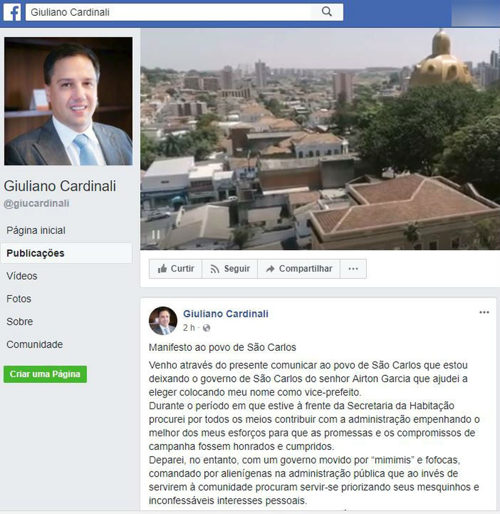 Giuliano Cardinali fez postagem sobre pedido de exoneração no Facebook (Foto: Reprodução/ Facebook)