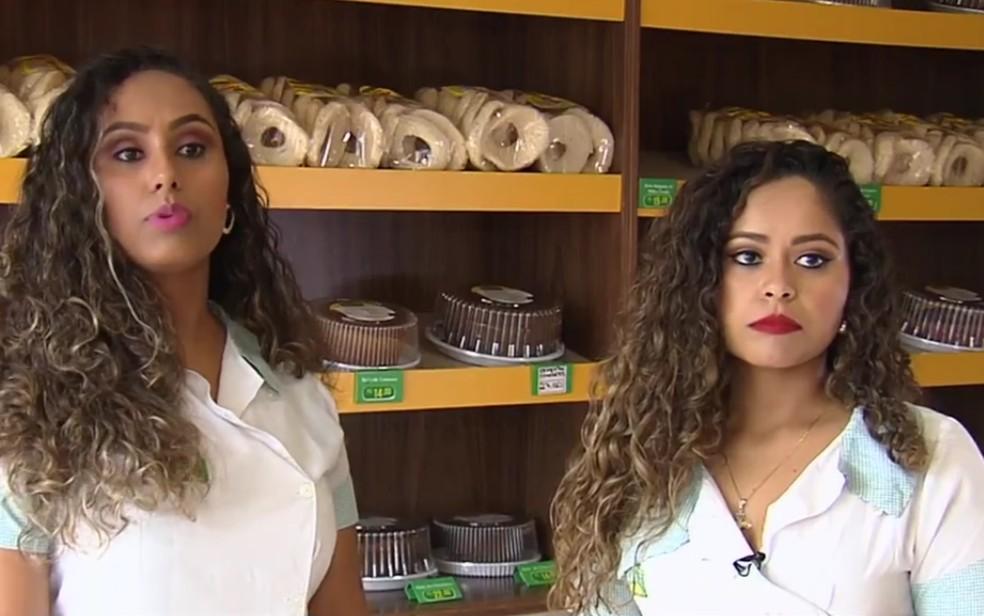 Irmãs Thaís e Thainara lucram vendendo bolos, em Goiânia, Goia´s — Foto: Reprodução/TV Anhanguera