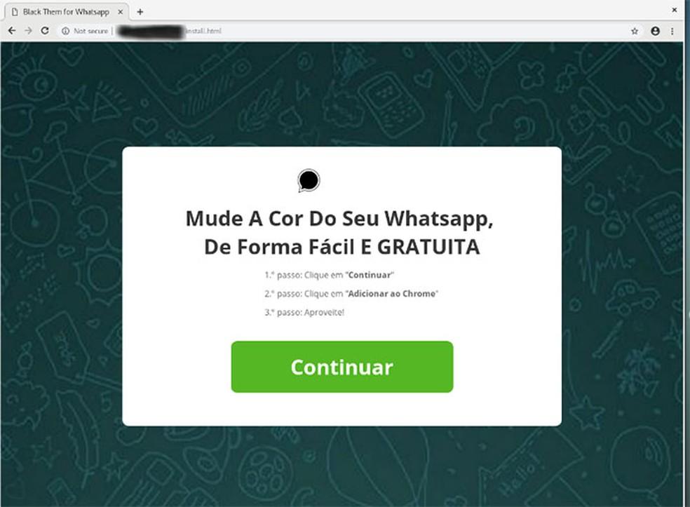 Mensagem em português após acessar o link divulgado no WhatsApp. — Foto:  Divulgação/Eset