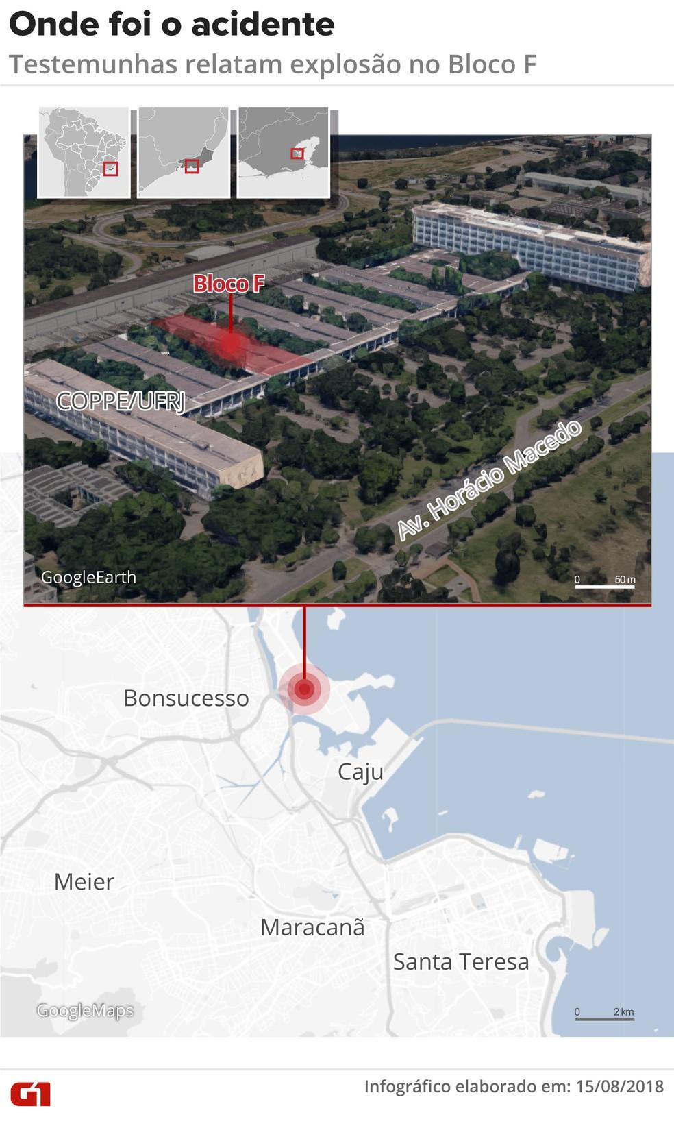 Mapa localiza o bloco do laboratório do acidente na Coppe, na Ilha do Fundão (Foto: Claudia Ferreira/G1)