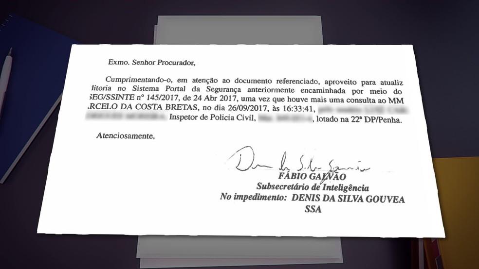 Documento mostra consulta ao nome do juiz Marcelo Bretas no sistema da Polícia Civil. (Foto: Reprodução/ TV Globo)