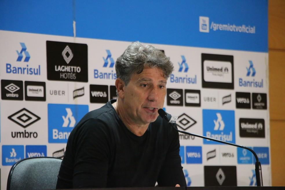 Renato Gaúcho em entrevista coletiva após a vitória — Foto: Eduardo Moura