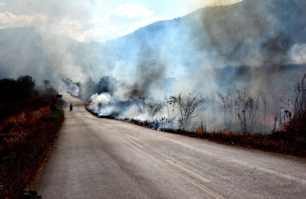 Fogo em vegetação na cidade de Sobral, na Região Norte. — Foto: Corpo de Bombeiros/Divulgação