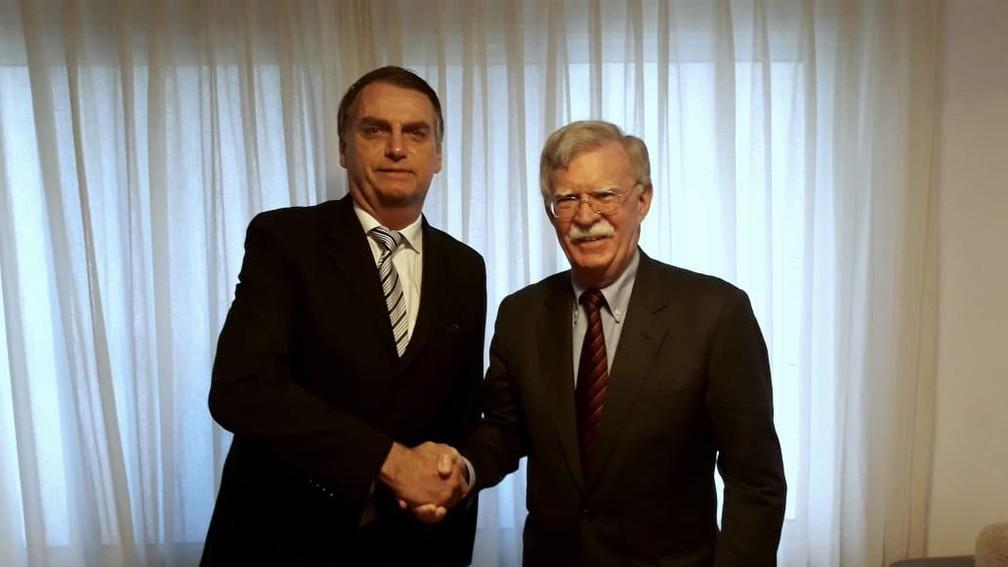 Jair Bolsonaro e John Bolton em novembro de 2018. — Foto: Reprodução/Twitter John Bolton