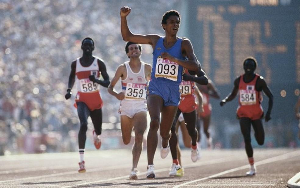 Final olímpica dos 800m em Los Angeles 1984, da qual Joaquim Cruz e Donato Sabia participaram — Foto: Arquivo