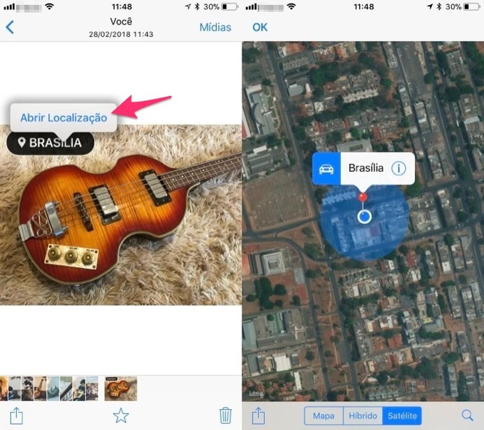 Ação para abrir a geolocalização de uma imagem no WhatsApp para iPhone (Foto: Reprodução/Marvin Costa)
