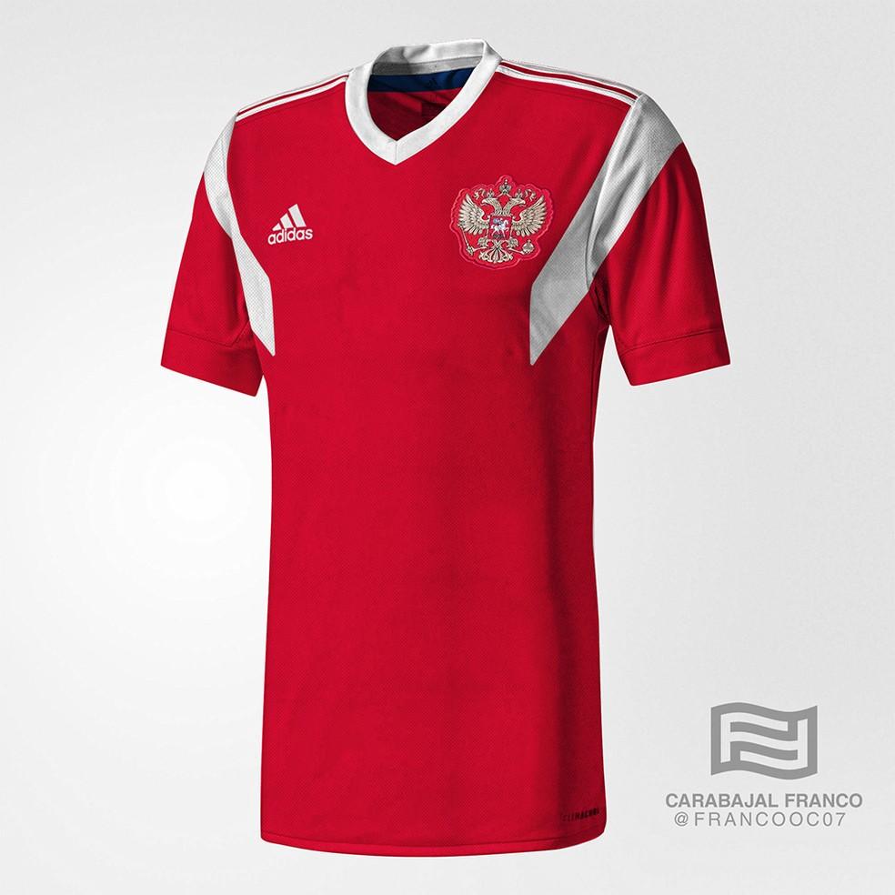 Suposta camisa da Rússia para a Copa do Mundo (Foto: Reprodução / Todo Sobre Camisetas)