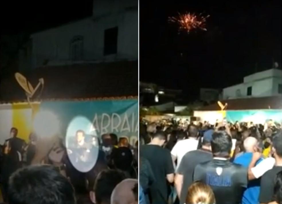 Fogos de artifício e até bateria de bloco carnavalesco fizeram parte da festa de rua com a participação do prefeito de Arraial do Cabo, Renatinho Vianna — Foto: Reprodução Redes Sociais