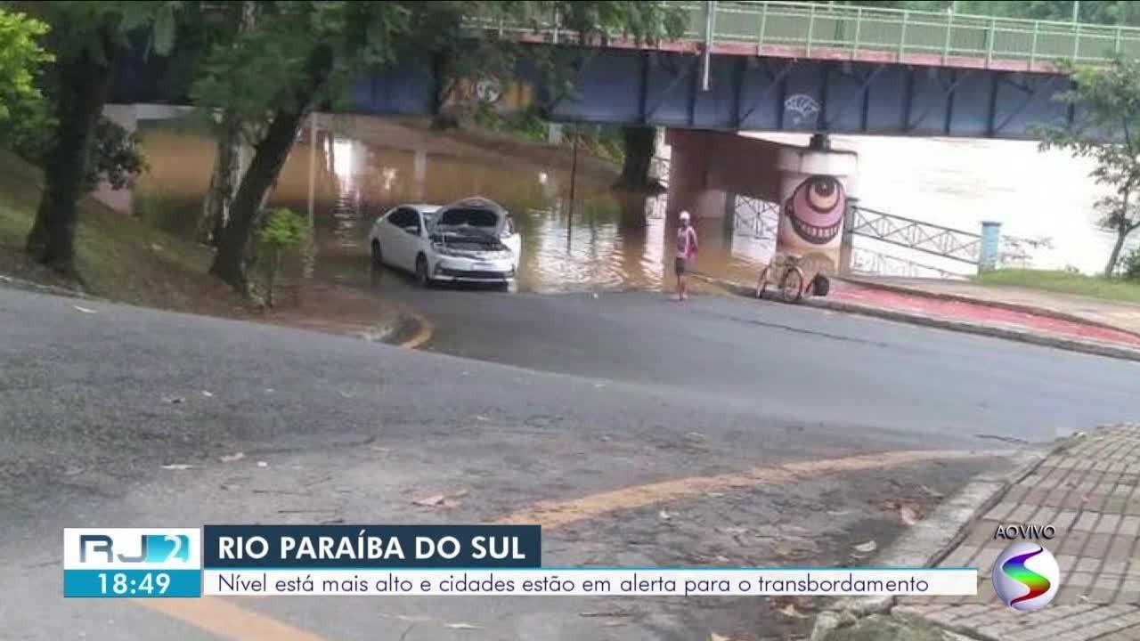 Cidades estão em alerta com risco de transbordamento do Rio Paraíba do Sul