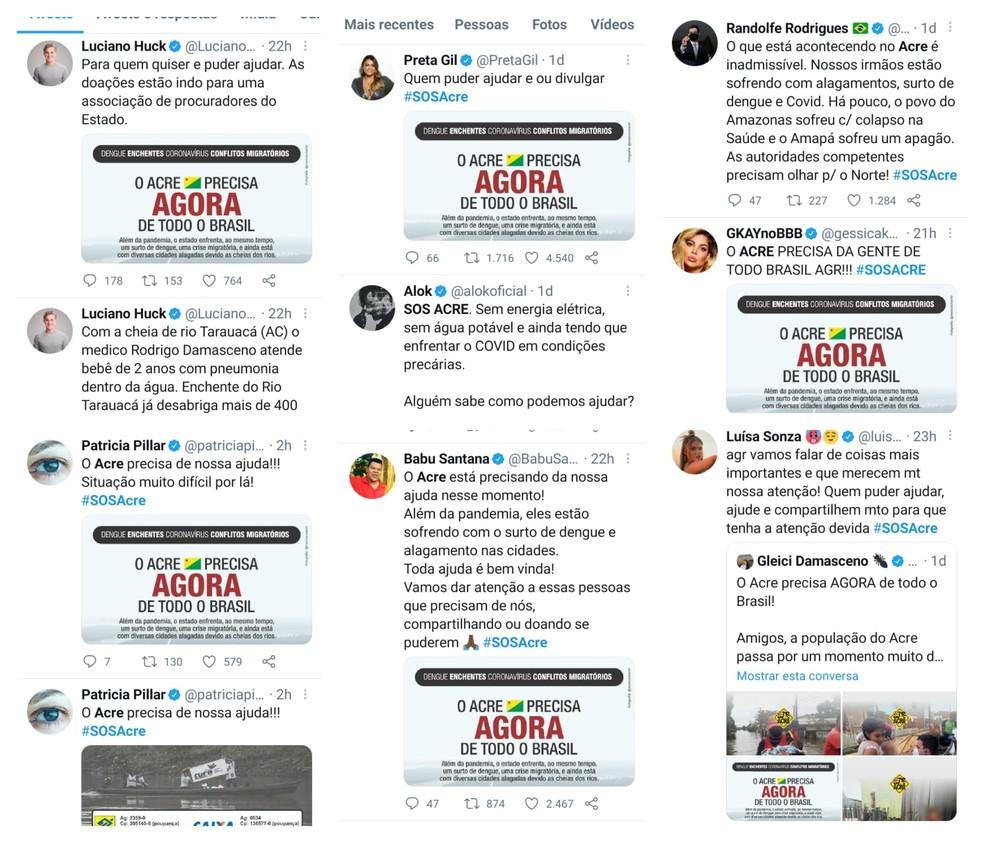 Hashtag SOSAcre foi compartilhada por diversos artistas  — Foto: Reprodução