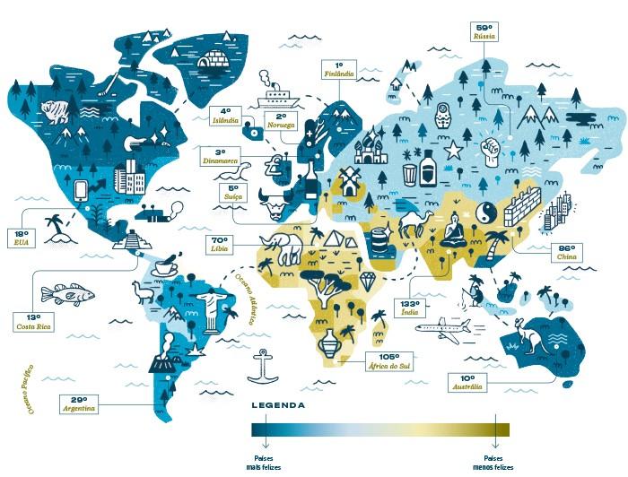 Mapa da felicidade (Foto: Ilustração: Yorka)