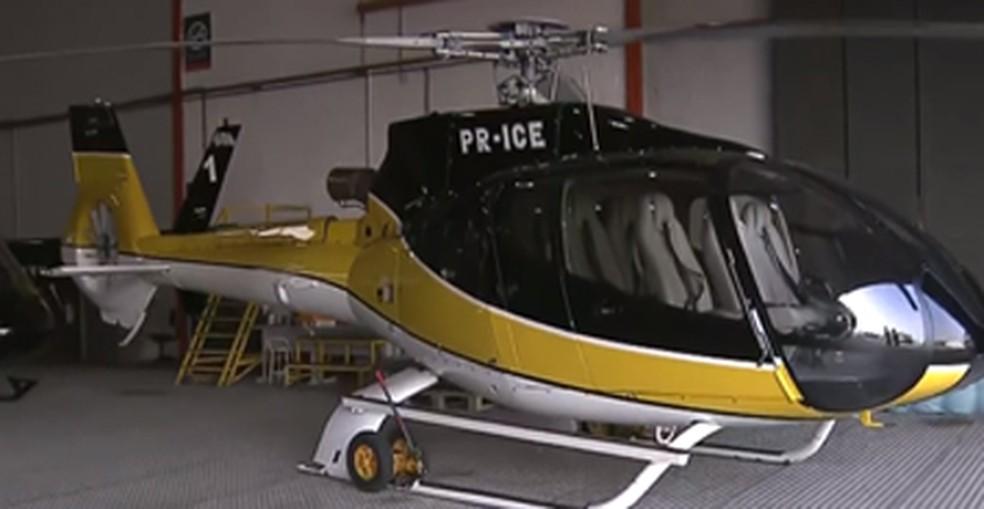 Helicóptero apreendido pela polícia com o traficante  André do Rap — Foto: Reprodução/ TV Globo