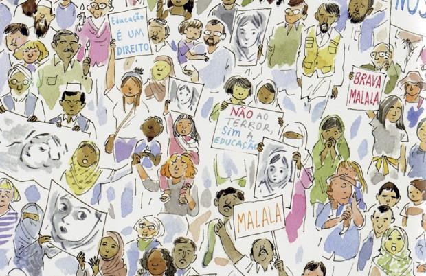 Malala e seu Lápis Mágico, texto de Malala Yousafzai e ilustrações de Kerascoët, Companhia das Letrinhas, R$ 34,90. A partir de 5 anos. (Foto: Reprodução)