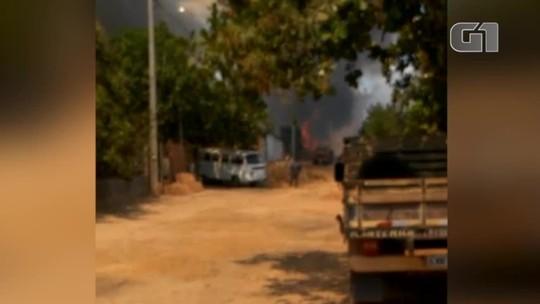 Incêndio em vegetação ameaça atingir casas e deixa moradores preocupados em Demerval Lobão