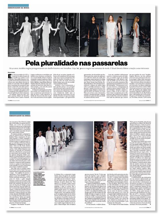 """COMPROMISSO A reportagem """"Pela pluralidade nas passarelas"""", publicada em 2015. A moda mudou. O país também precisa mudar (Foto: Época)"""