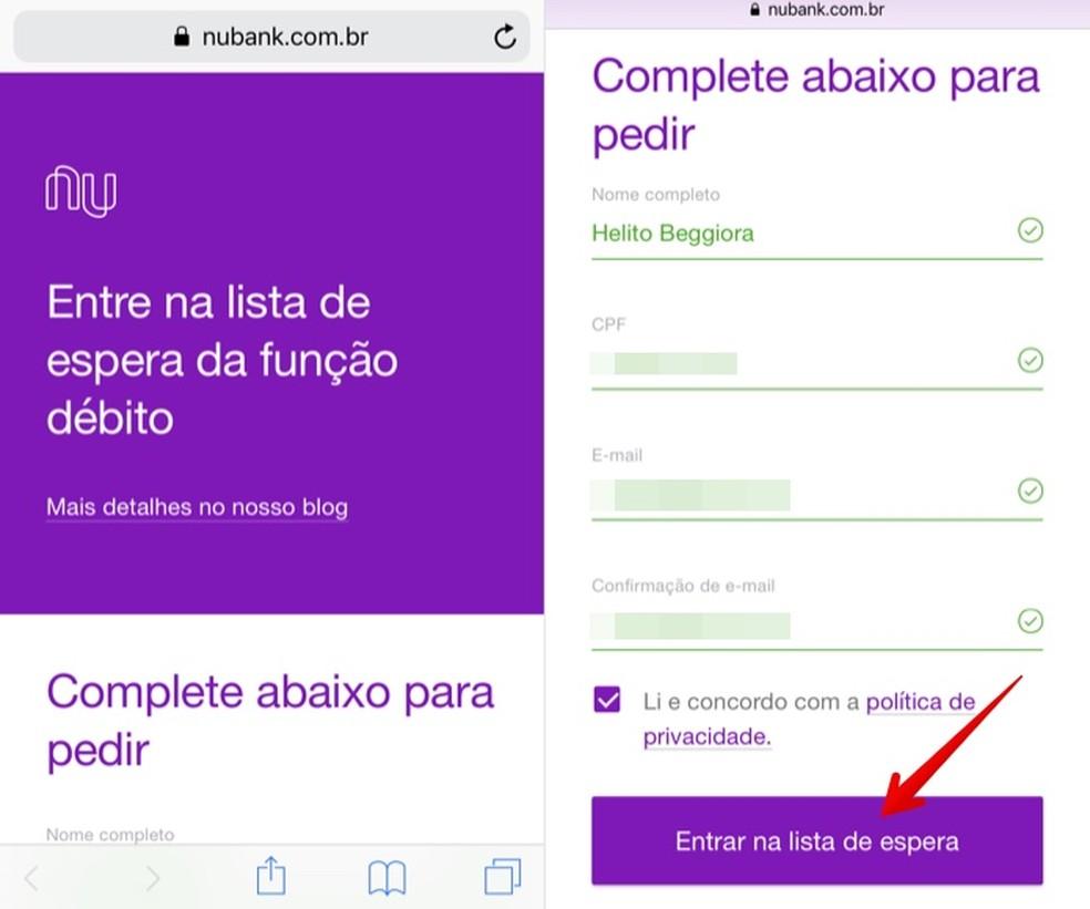Solicitando convite para usar a função débito — Foto: Reprodução/Helito Beggiora