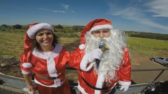Ventania desvia rota de balão e obriga Papai Noel a pousar em canavial