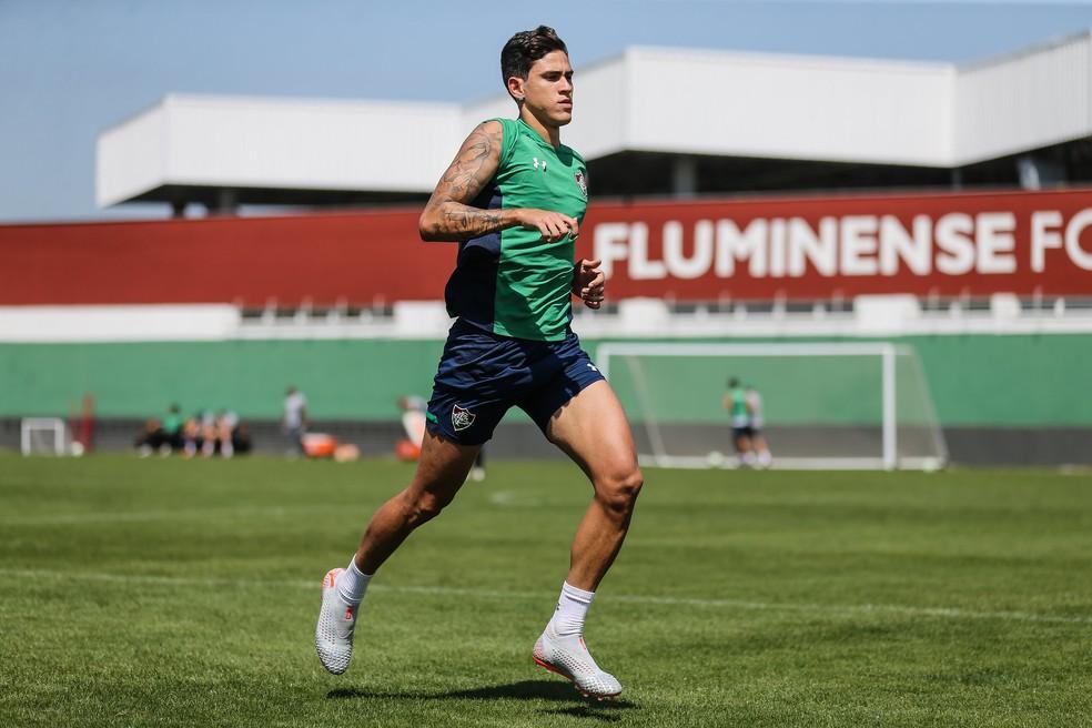 Pedro treinou neste sábado no CT do Fluminense — Foto: Lucas Merçon