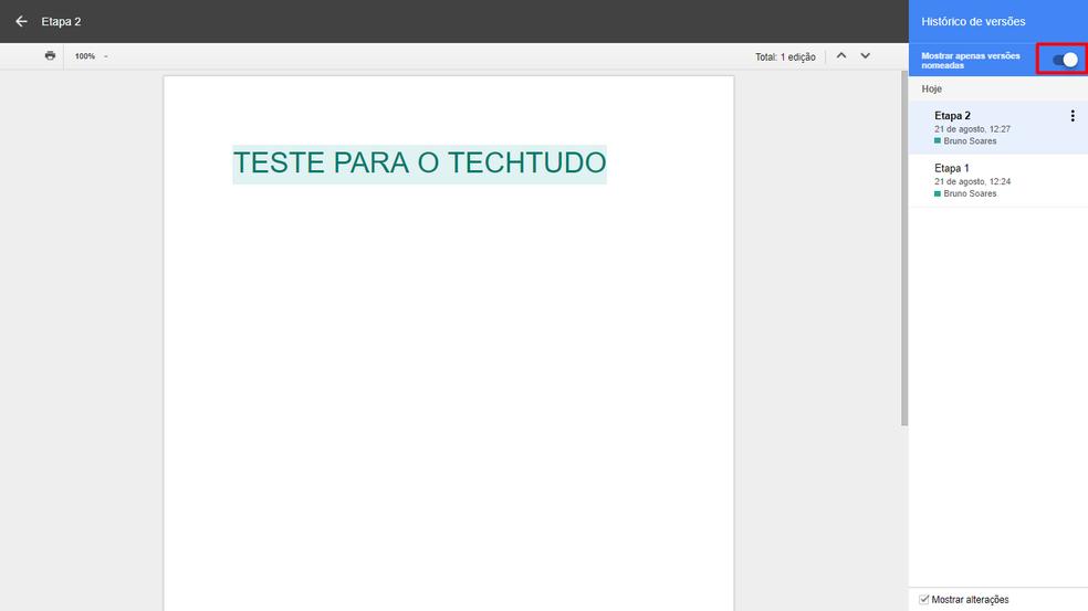 Botão permite criar lista somente com as versões renomeadas (Foto: Bruno Soares/TechTudo)
