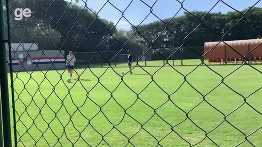 Pablo, Liziero e Everton trabalham no CT do São Paulo durante folga do elenco na Copa América