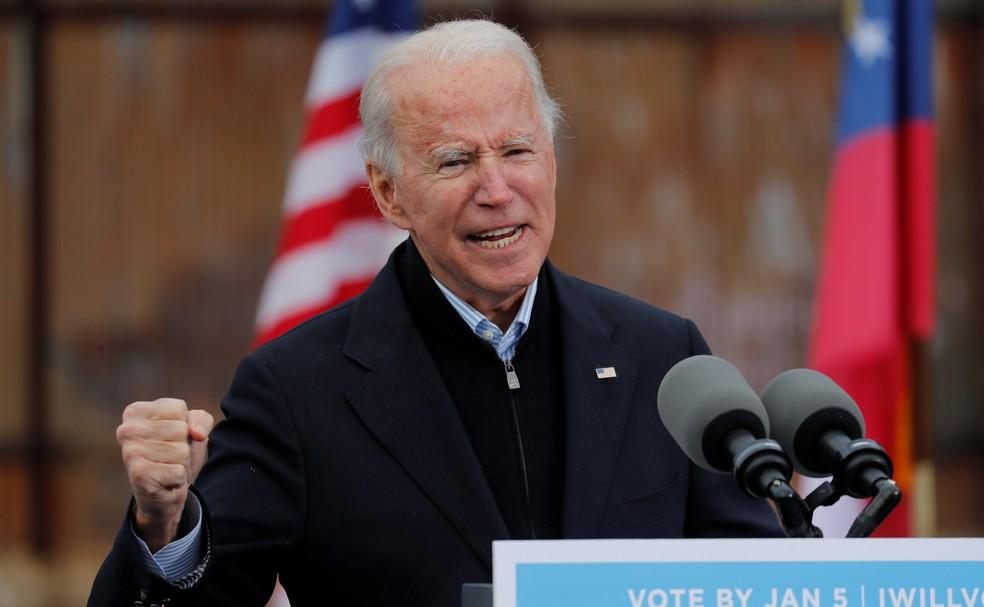 Biden em Atlanta em 15 de dezembro — Foto: REUTERS/Mike Segar