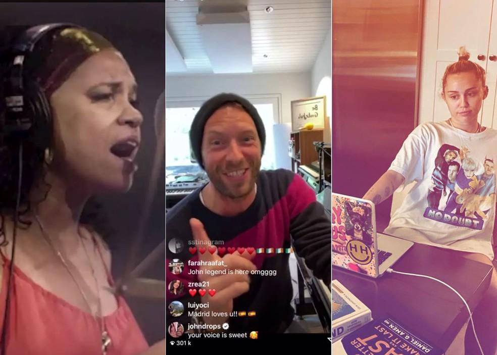 Teresa Cristina, Coldplay e Miley Cyrus estão entre os artistas que estão fazendo apresentações on-line — Foto: Reprodução/Redes sociais dos artistas