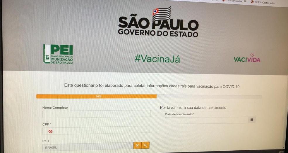 """Site 'Vacina Já"""", criado pelo governo de SP para agilizar a campanha de vacinação no estado de SP. — Foto: Reprodução"""